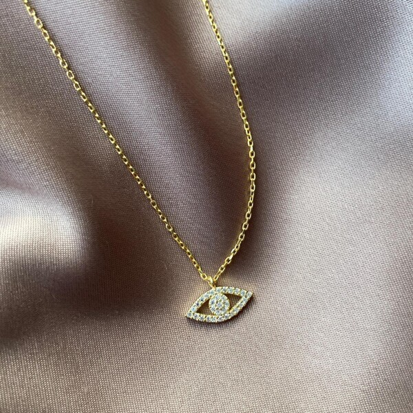 Fi Season - Tamamı Beyaz Taşlı Göz Kolye | 925 Gümüş