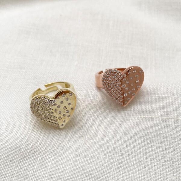 Fi Season - Taşlı Büyük Kalp Yüzük   925 Gümüş