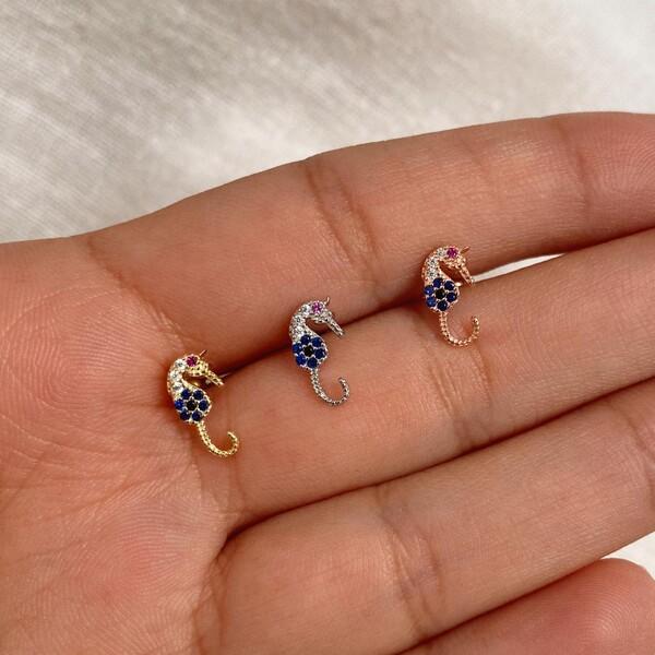 Fi Season - Taşlı Denizatı Piercing | 925 Gümüş