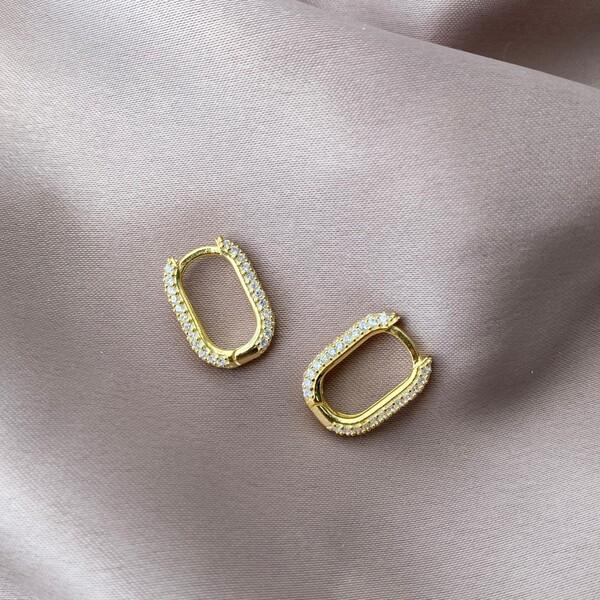 - Taşlı Dikdörtgen Küpe | 925 Gümüş