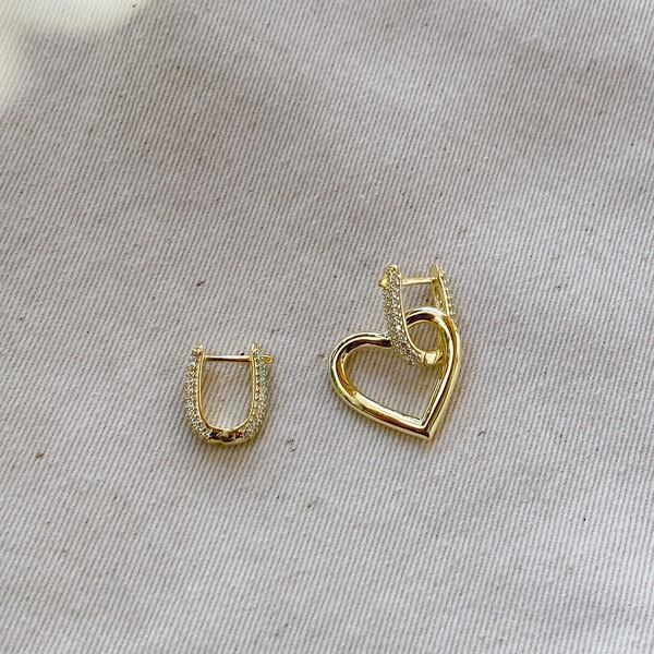 Fi Season - Taşlı Halkalı Kalp Küpe   925 Gümüş
