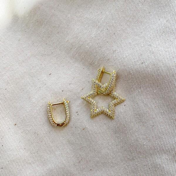 Fi Season - Taşlı Halkalı Taşlı Yıldız Küpe   925 Gümüş