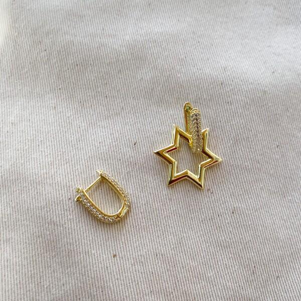 - Taşlı Halkalı Yıldız Küpe | 925 Gümüş