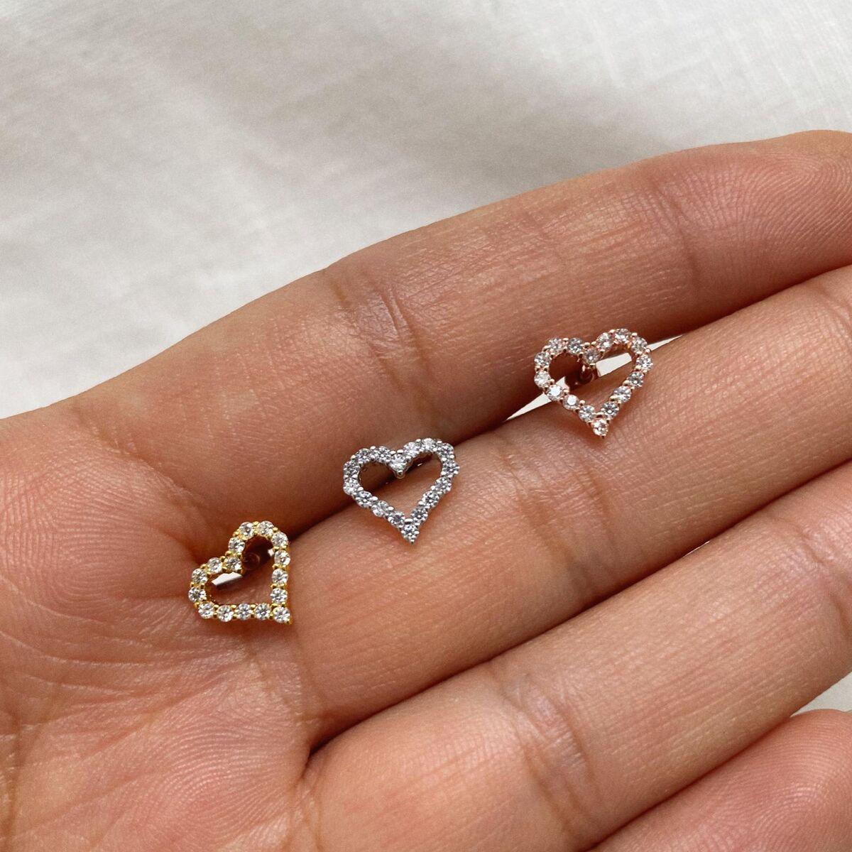 Taşlı İçi Açık Kalp Piercing | 925 Gümüş