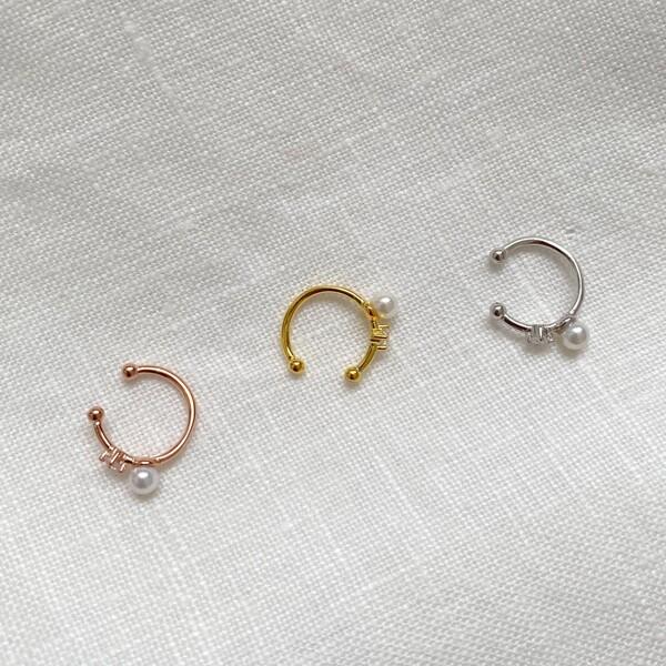 Fi Season - Taşlı İncili İnce Ear Cuff | 925 Gümüş