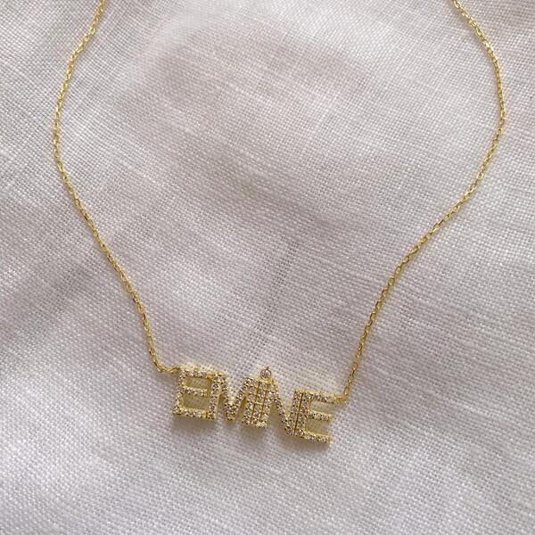 Fi Season - Taşlı İsim Kolye | 925 Gümüş