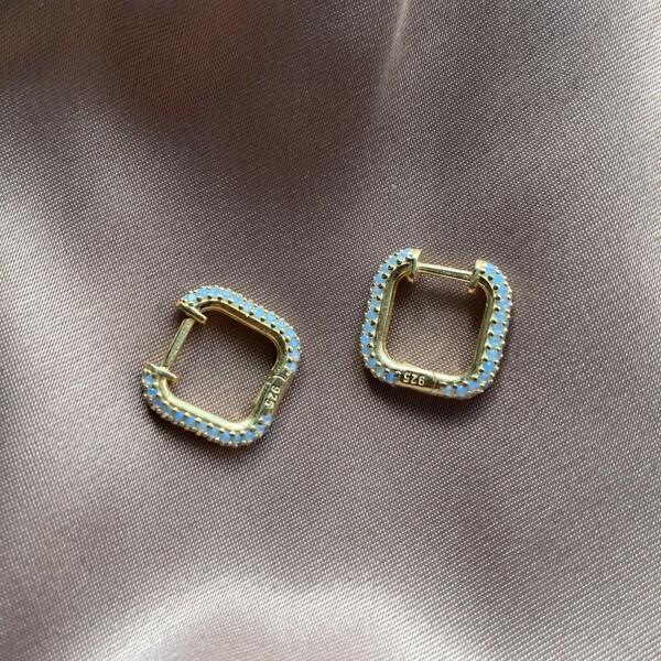 Fi Season - Mavi Taşlı Kare Küpe | 925 Gümüş