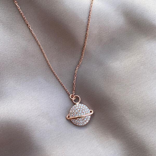 - Taşlı Saturn Kolye | 925 Gümüş