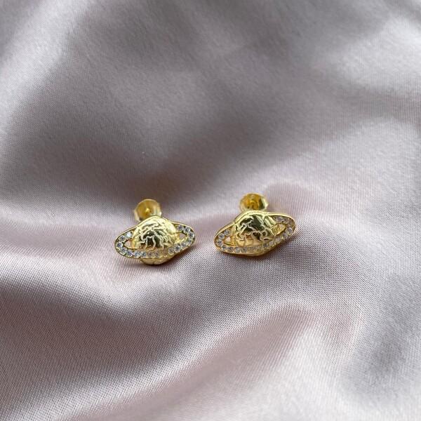 - Taşlı Saturn Küpe | 925 Gümüş