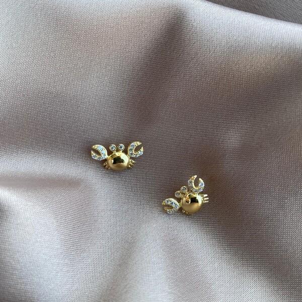 - Taşlı Yengeç Figürlü Küpe 2 | 925 Gümüş