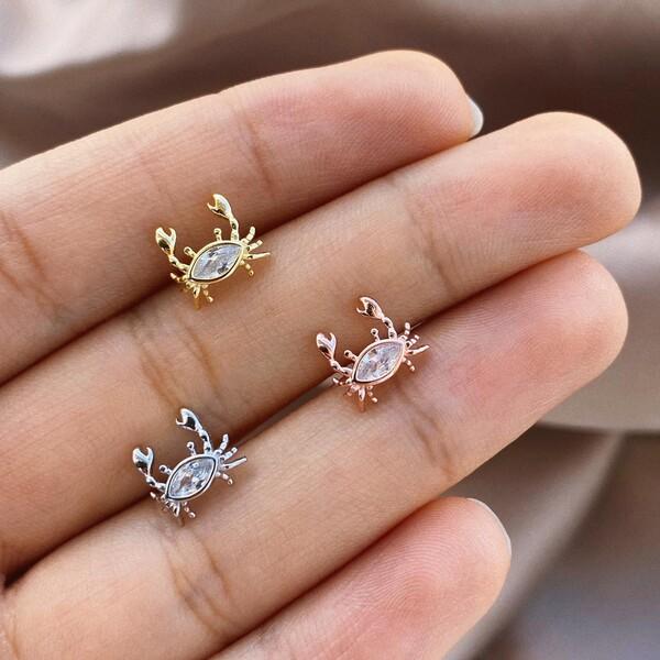 - Taşlı Yengeç Piercing | 925 Gümüş