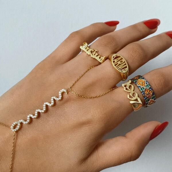 Taşlı Yılan Figürlü Şahmeran | 925 Gümüş - Thumbnail