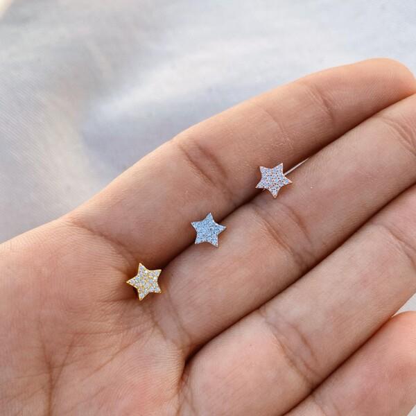Fi Season - Taşlı Yıldız Piercing | 925 Gümüş
