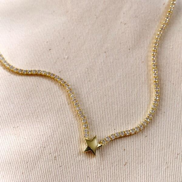 Fi Season - Taşlı Yıldızlı Su Yolu Choker | 925 Gümüş