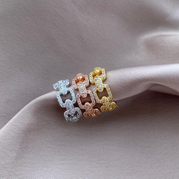 Fi Season - Taşlı Zincir Ear Cuff | 925 Gümüş