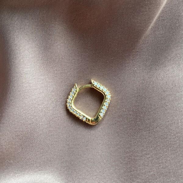 Fi Season - Tekli Kare Figürlü Beyaz Taşlı Küpe | 925 Gümüş