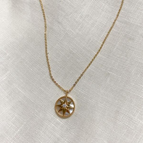 - Tek Taşlı Plaka Kutup Yıldızı Kolye | 925 Gümüş