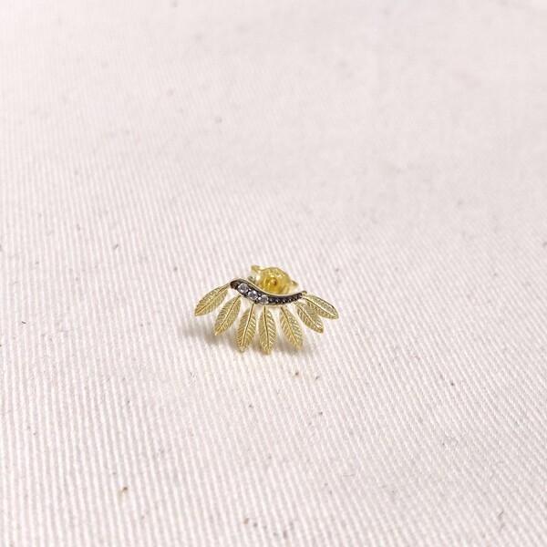 Fi Season - Tekli 7 Taşlı Yaprak Küpe   925 Gümüş