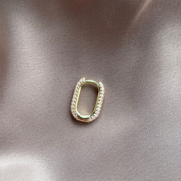 Fi Season - Tekli Açık Pembe Taşlı Dikdörtgen Küpe | 925 Gümüş