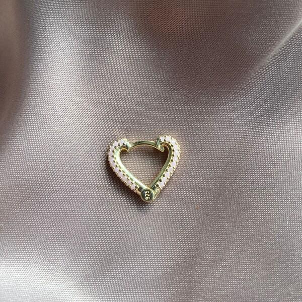 Fi Season - Tekli Açık Pembe Taşlı Kalp Küpe | 925 Gümüş
