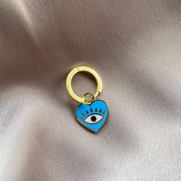 Fi Season - Tekli Mavi Mineli Gözlü Kalp Küpe | 925 Gümüş