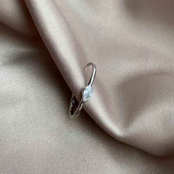 Fi Season - Tekli Beyaz Taşlı Damla İnce Dikdörtgen Küpe   925 Gümüş
