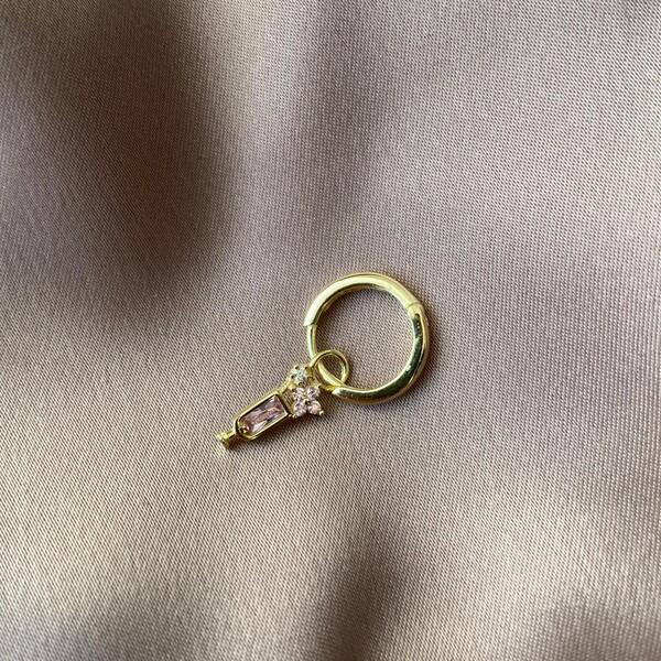 Fi Season - Tekli Çiçekli Pembe Taşlı Kadeh Küpe | 925 Gümüş