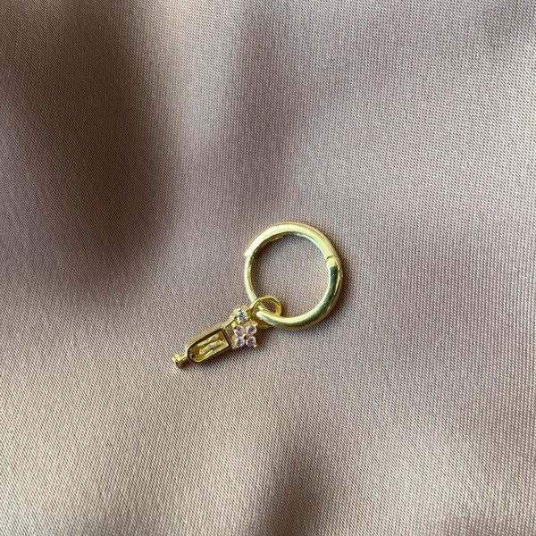 Fi Season - Tekli Çiçekli Sarı Taşlı Kadeh Küpe | 925 Gümüş
