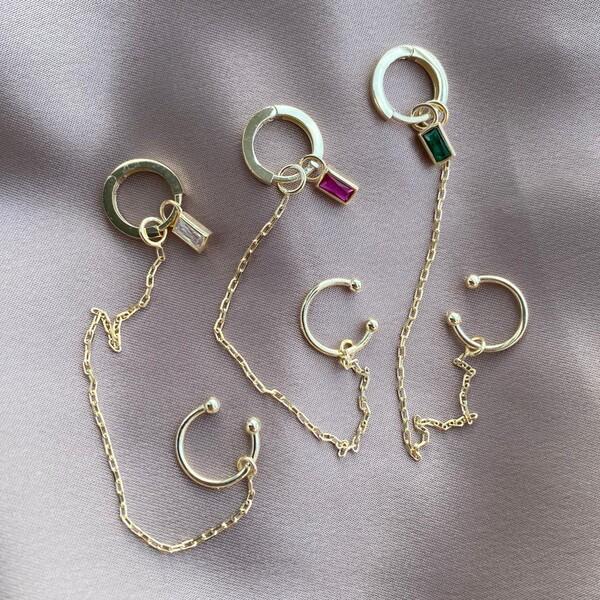 - Tekli Ear Cufflu Renkli Baget Küpe | 925 Gümüş