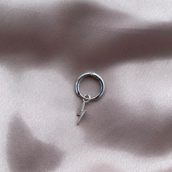 Tekli Halkalı Minik Şimşek Küpe | 925 Gümüş - Thumbnail
