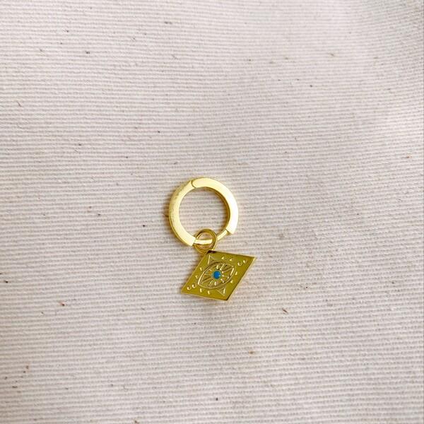 Fi Season - Tekli Halkalı Plaka Figürlü Küpe | 925 Gümüş