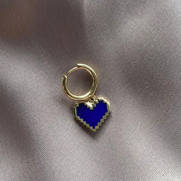 Fi Season - Tekli Halkalı Tırtıklı Lacivert Mineli Kalp Küpe | 925 Gümüş