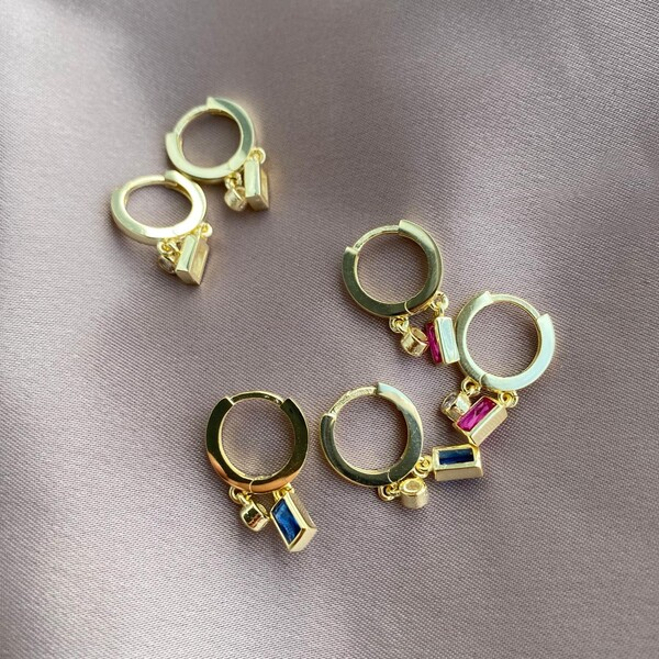 Fi Season - Tekli İki Renkli Baget Taşlı Küpe   925 Gümüş