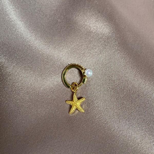 Fi Season - Tekli İncili Deniz Yıldızı Figürlü Küpe | 925 Gümüş