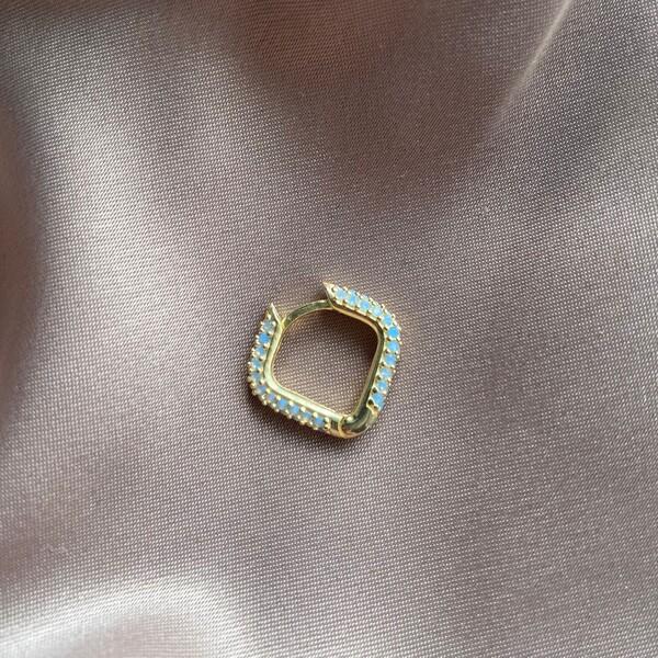 Fi Season - Tekli Kare Figürlü Mavi Taşlı Küpe | 925 Gümüş