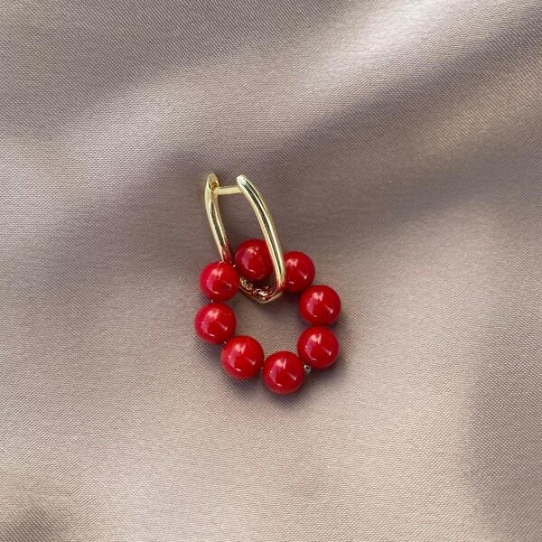 Fi Season - Tekli Kırmızı Taşlı Oval Dikdörtgen Küpe   925 Gümüş