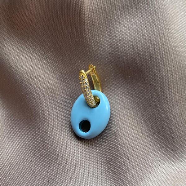 Fi Season - Tekli Mavi Renkli Halkalı Gemici Küpe | 925 Gümüş