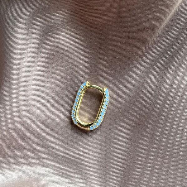 Fi Season - Tekli Mavi Taşlı Dikdörtgen Küpe | 925 Gümüş