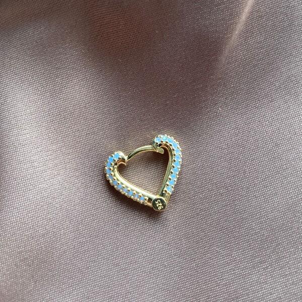 Fi Season - Tekli Mavi Taşlı Kalp Küpe | 925 Gümüş