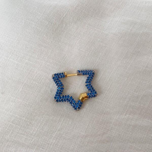 - Tekli Mavi Taşlı Yıldız Küpe | 925 Gümüş
