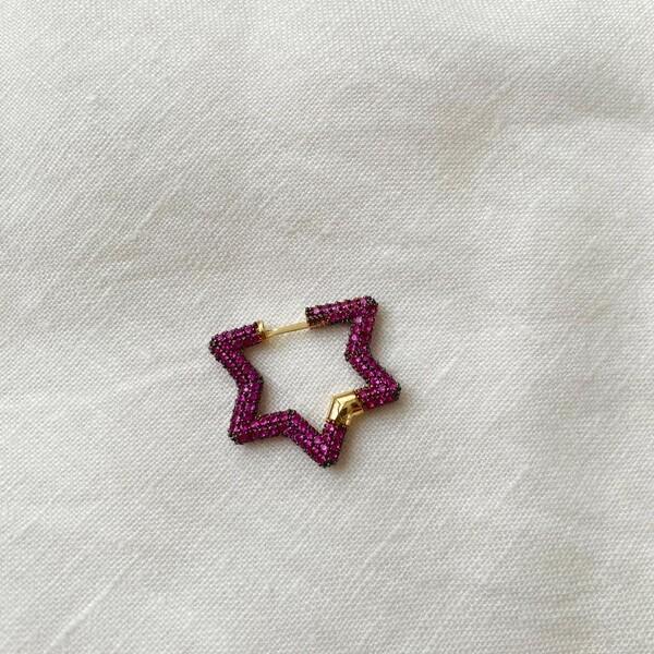 - Tekli Pembe Taşlı Yıldız Küpe | 925 Gümüş