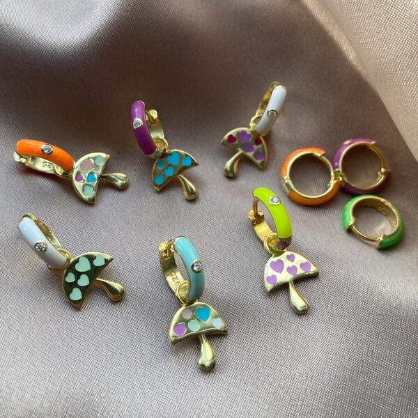 Fi Season - Tekli Renkli Halkalı Renkli Mineli Mantar Küpe | 925 Gümüş