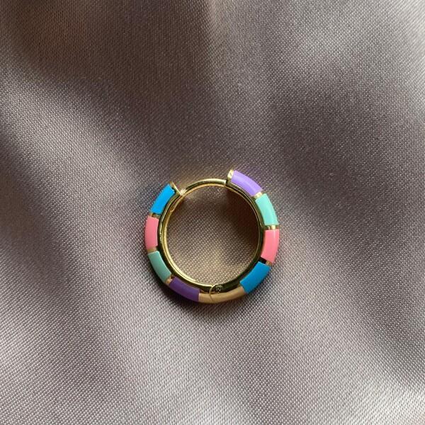 Fi Season - Tekli Renkli Mineli Sıralı Halka Küpe | 925 Gümüş