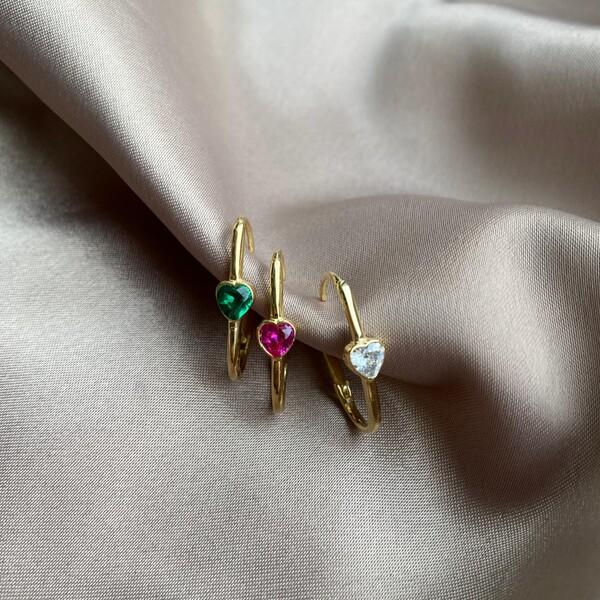 Fi Season - Tekli Renkli Taşlı Kalpli İnce Dikdörtgen Küpe   925 Gümüş