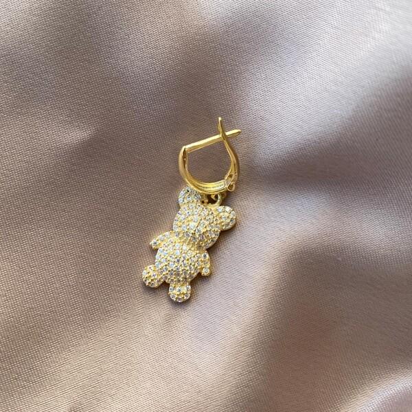 - Tekli Taşlı Ayıcık Figürlü Küpe | 925 Gümüş