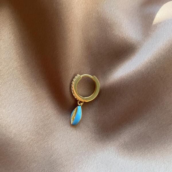 - Tekli Taşlı Halkalı Mavi Mineli Deniz Kabuğu Küpe | 925 Gümüş