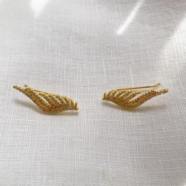 Fi Season - Tekli Taşlı Kanat Figürlü Küpe   925 Gümüş