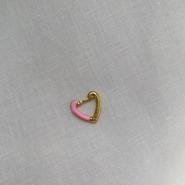 - Tekli Yarısı Pembe Mineli Kalp Küpe | 925 Gümüş