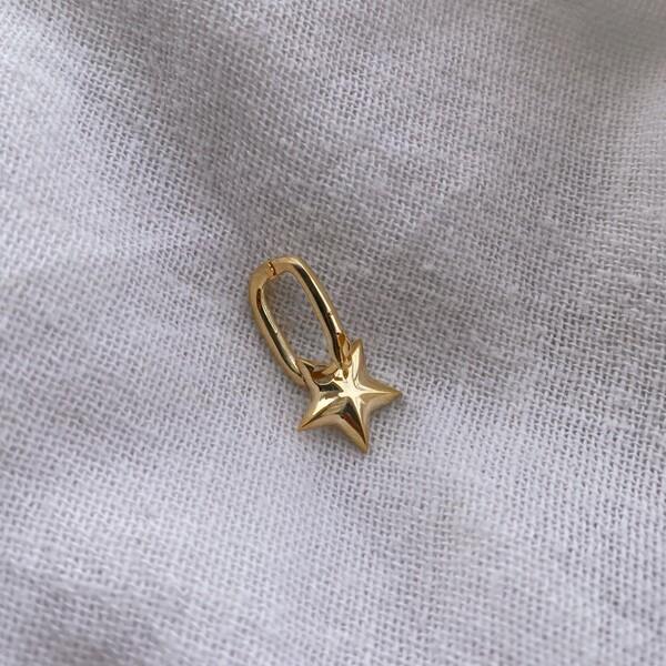- Tekli Yıldızlı Dikdörtgen Küpe | 925 Gümüş