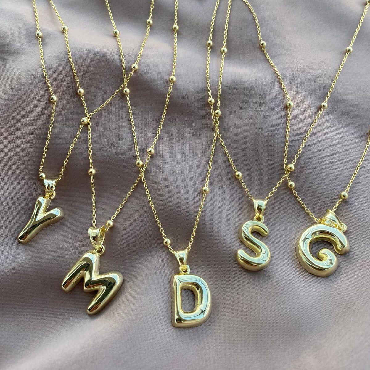 Top Zincirli Harf Kolye   925 Gümüş